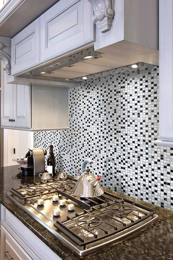 Kitchen stove tile backsplash