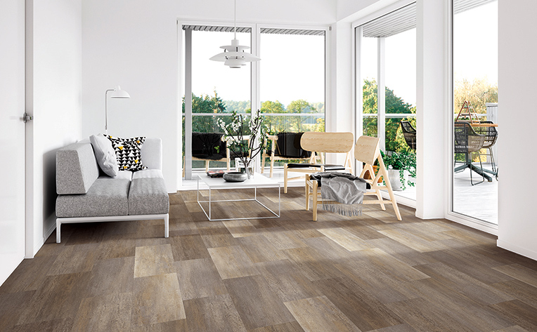 Bright living room with LVT flooring